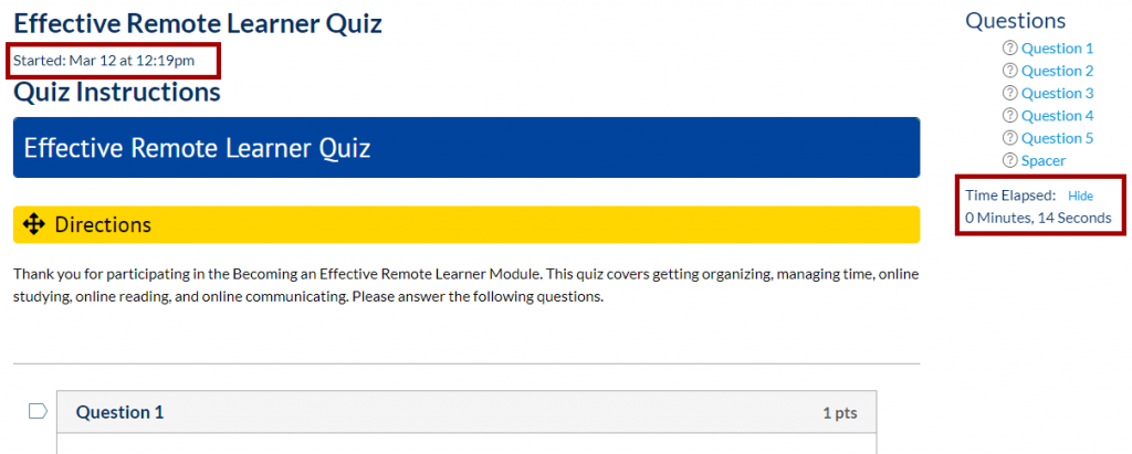 Canvas quiz question page with timer