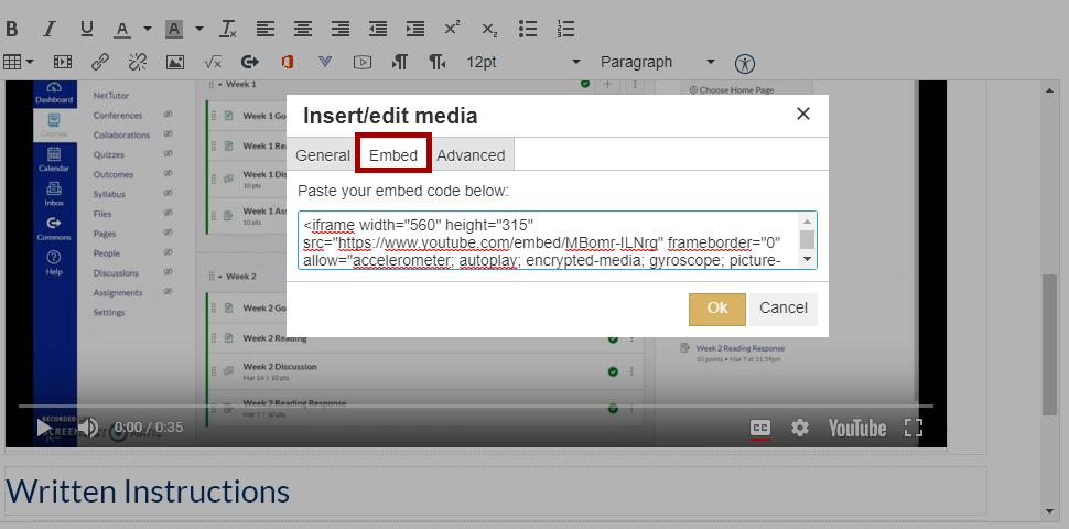 Canvas Rich Content Editor insert/edit media