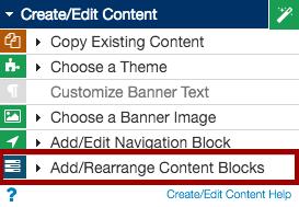create/edit existing content menu