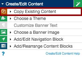 create/edit content menu