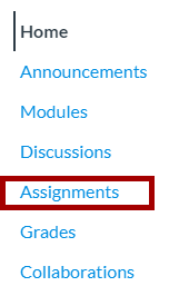 Canvas course navigation menu with Assignments