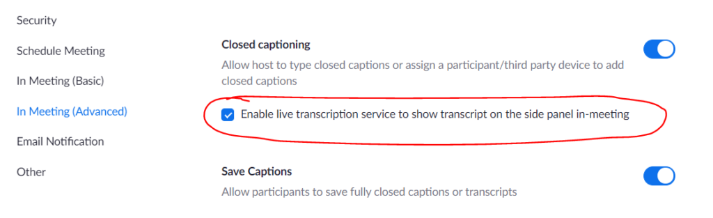 Zoom live transcript enabled check box
